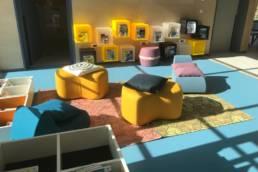 Aménagement espace enfant ludique médiathèque Templeuve